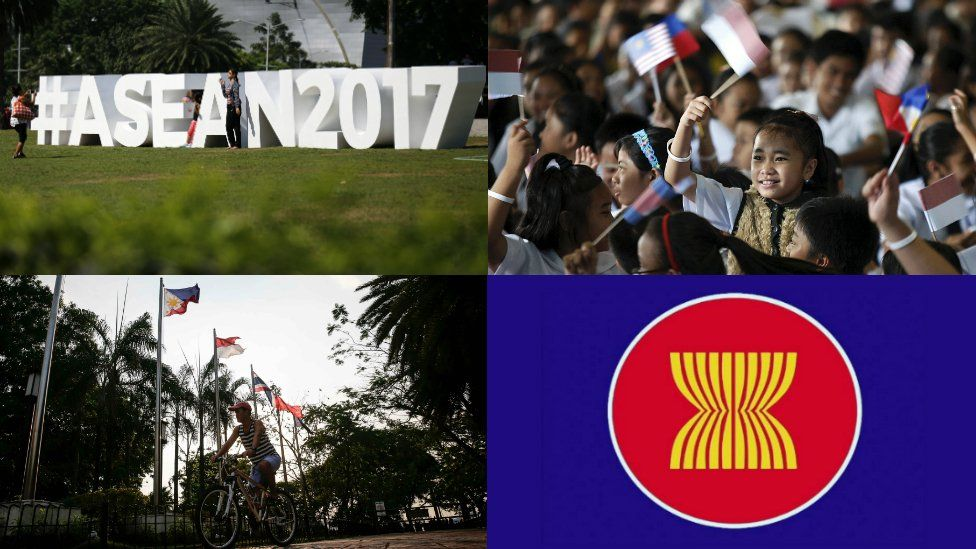 A composite picture of four photos. Top left: #ASEAN2017. Top right: Young girls waving flags. Bottom left: A man cycling underneath a Philippine Flag. Bottom right: ASEAN logo