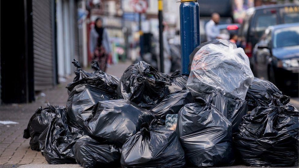 Rubbish piling up in Birmingham