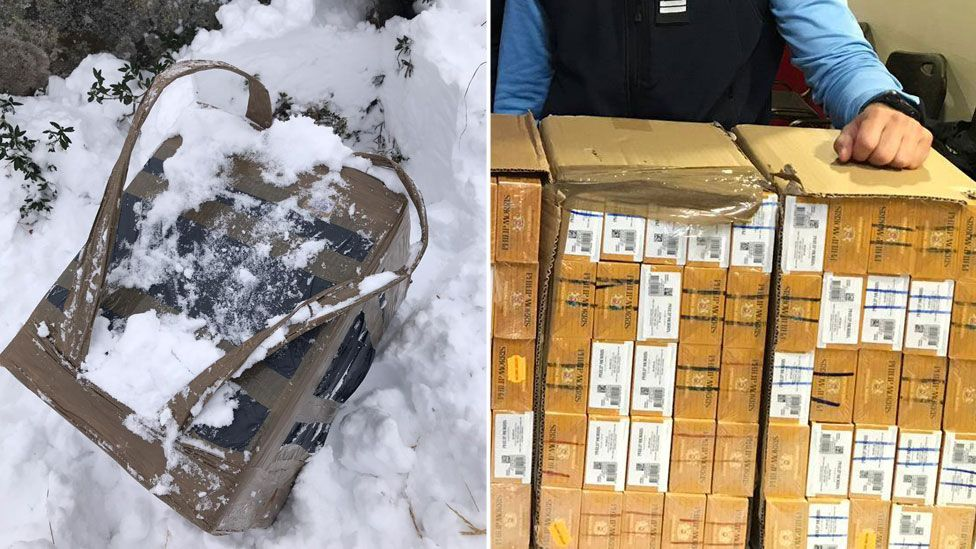 A composite image shows a snowy bundle wrapped in duct-tape, left, and a sliced upon cardboard box with dozens of cigarette cartons inside, right, being presented by the gendarmerie