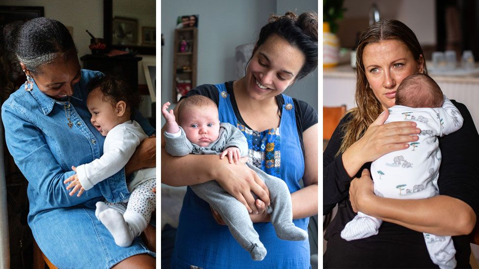 A composite showing portraits of Naomi and her son Akirou, Steph and her daughter Nora, and Tash and her son Ziggy