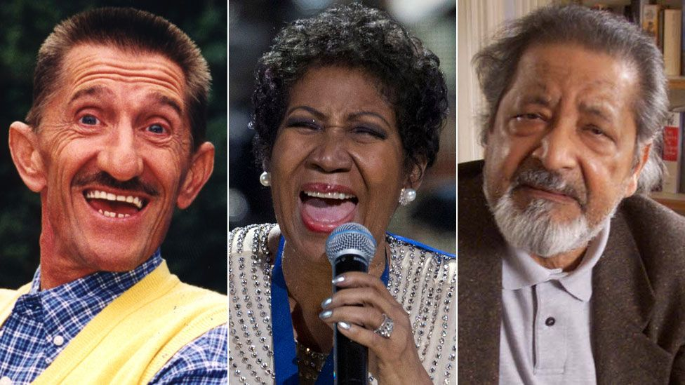 Barry Chuckle, Aretha Franklin and VS Naipaul
