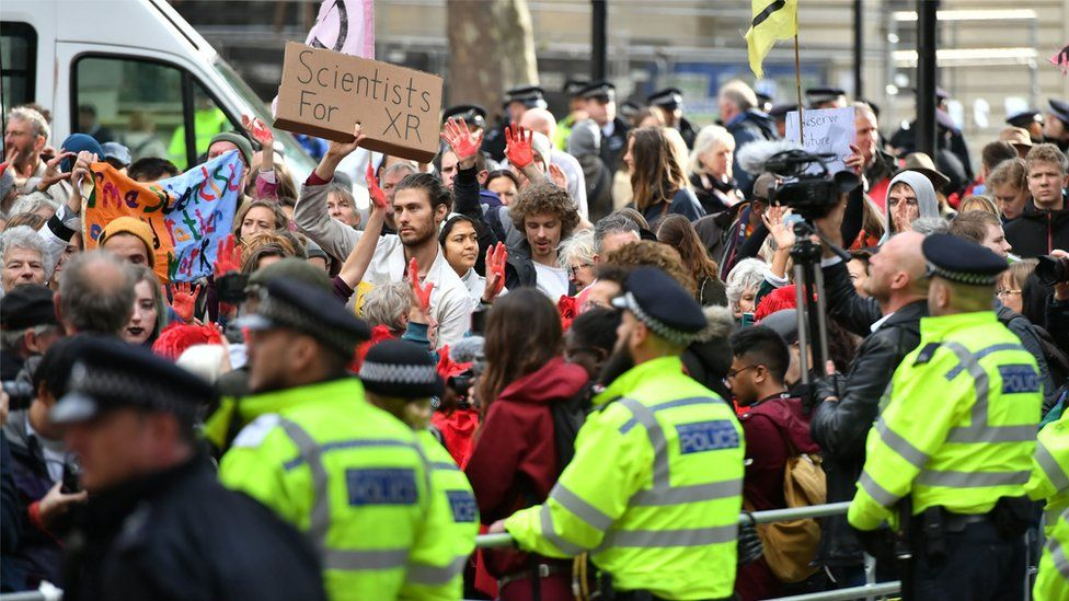 Extinction Rebellion protest outside Downing Street