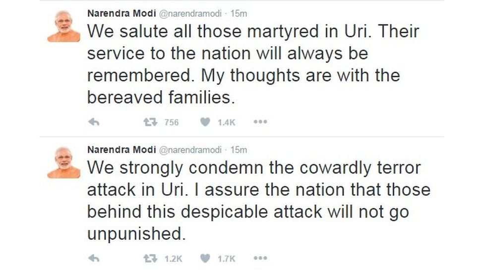 """Modi tweet: """"We salute all those martyred in Uri. Their service to the nation will always be remembered. My thoughts are with the bereaved families."""""""