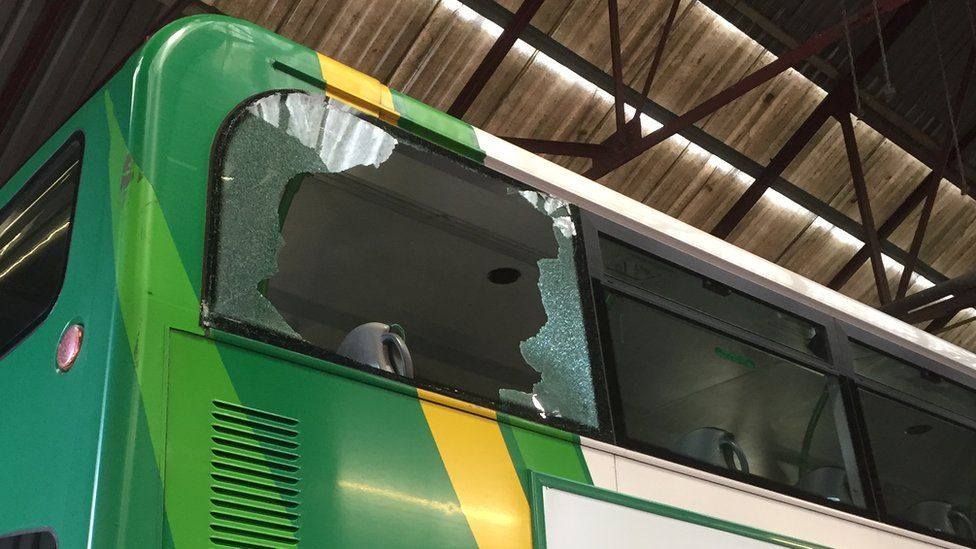 Five buses were attacked in six incidents