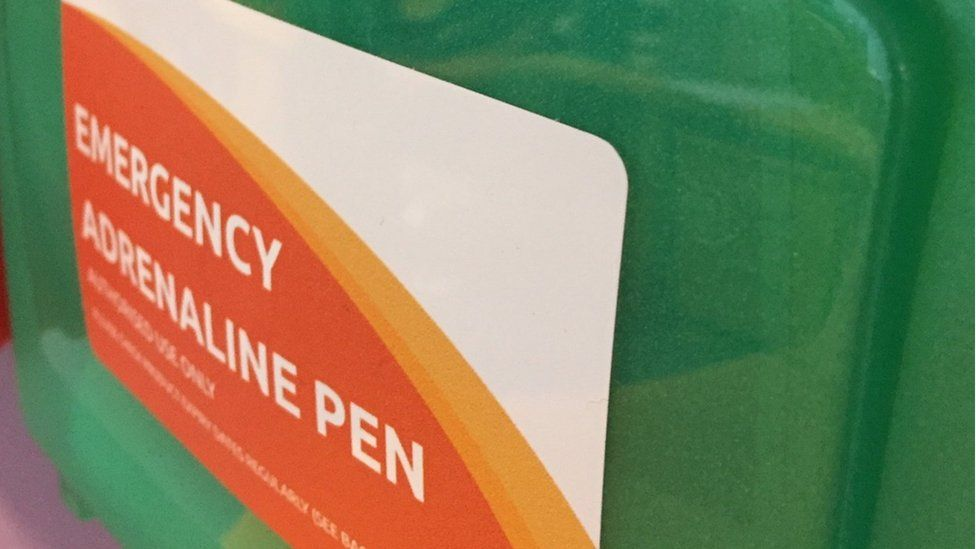 An emergency adrenaline pen