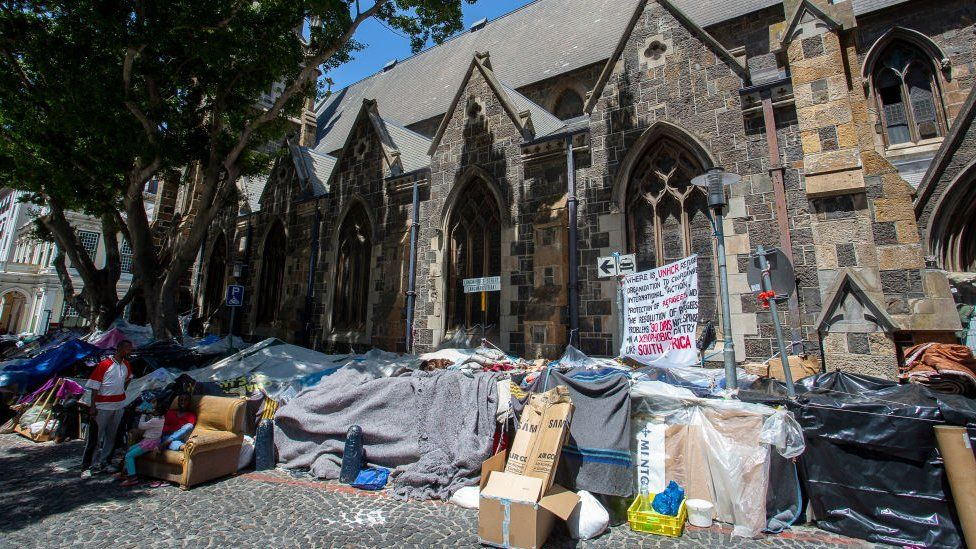A general view of refugees at the Central Methodist Church in Green Market Square
