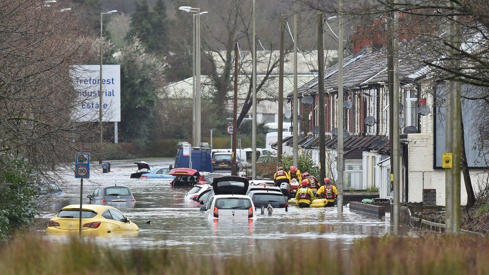 A flooded road in Nantgarw, Wales