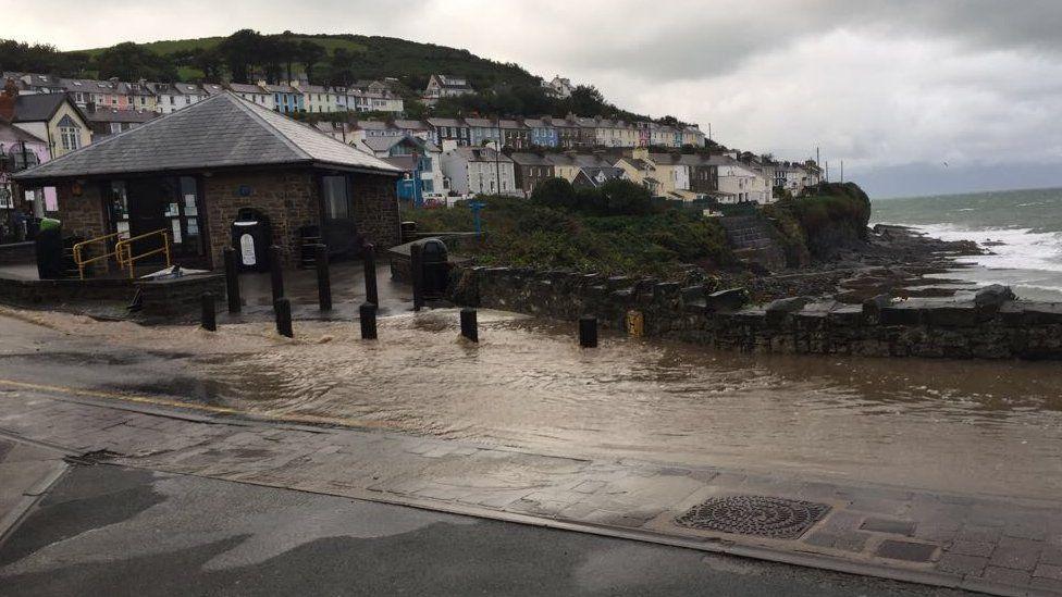 Flooding in New Quay, Ceredigion