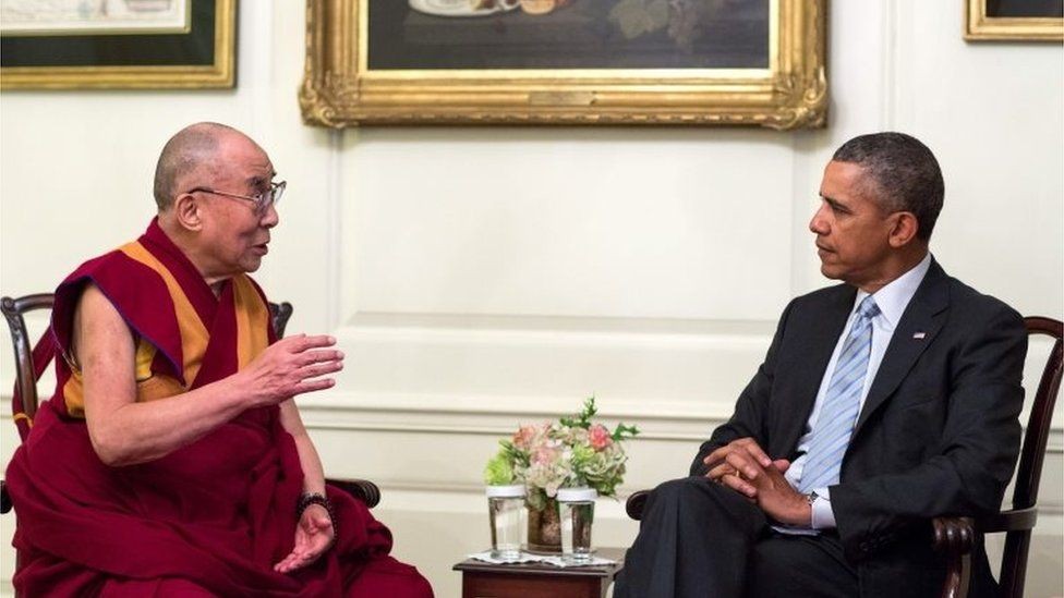 US President Barack Obama (R) meets the Dalai Lama in the Map Room of the White House, in Washington, DC, USA, 21 February 2014.
