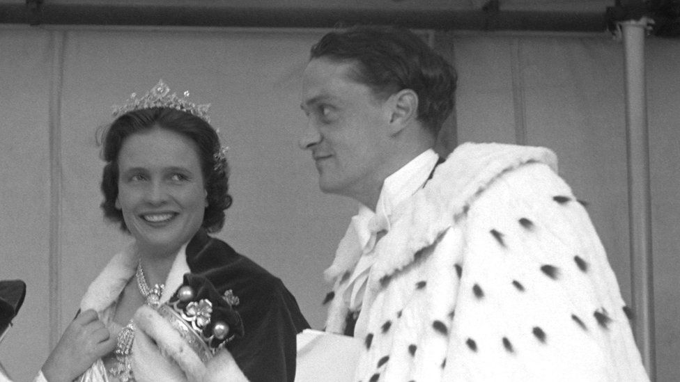 The Marchioness and Marquess of Anglesey at 1952 coronation of the Queen