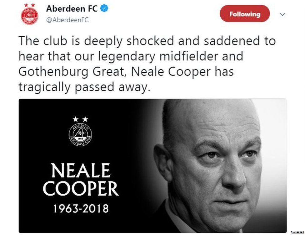 A tweet by Aberdeen Football Club