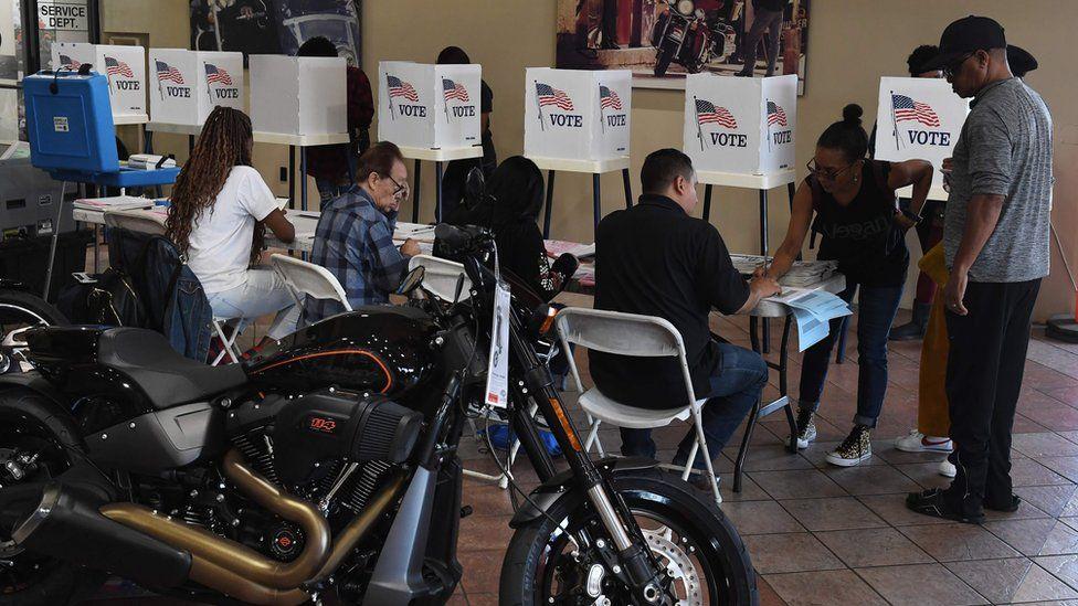 Voting in a Harley-Davidson showroom in Long Beach, California, on 6 November 2018