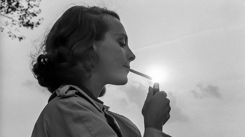 Woman smoking in the 1960s