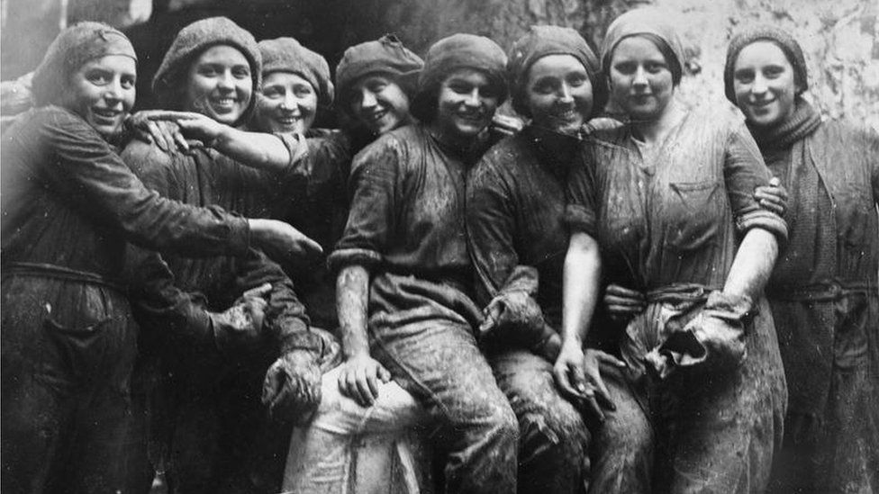Group of female workers employed at a brickworks in South Wales