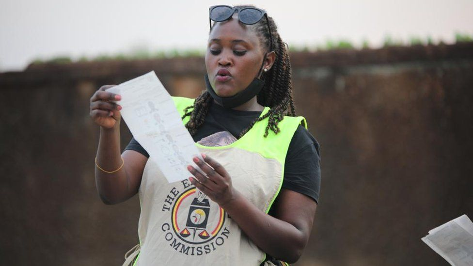 An electoral official reading out a result in Kampala, Uganda - 14 January 2021
