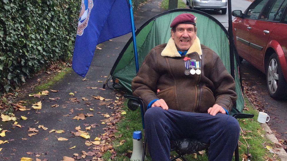 Gus Hales in camp in Newport
