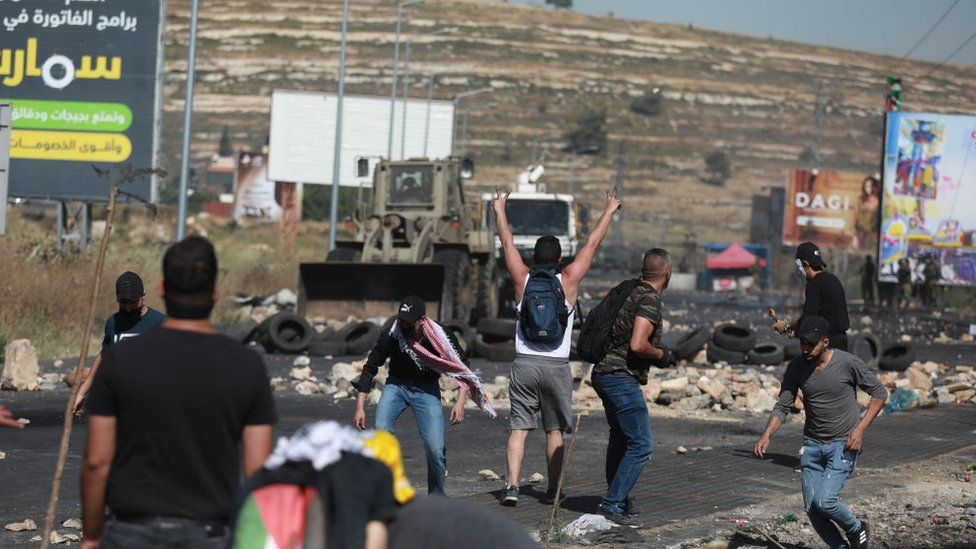 Image shows protests in the West Bank on Friday