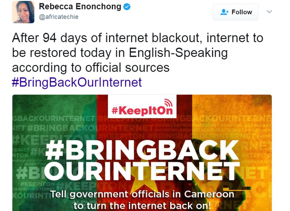 """Tweet reads: """"After 94 days of internet blackout, internet to be restored today in English-Speaking according to official sources"""""""