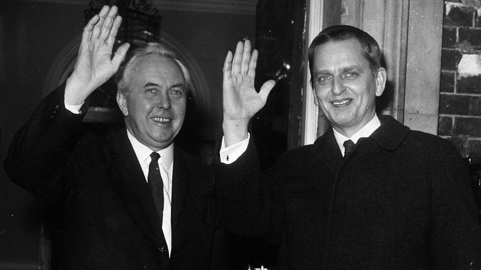 Harold Wilson and Olof Palme waving outside 10 Downing Street in 1970