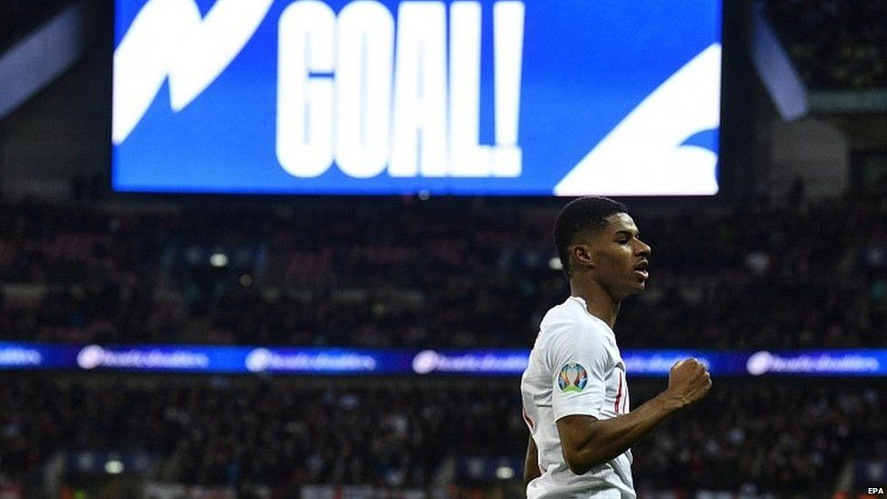 Marcus Rashford after scoring a goal for England in 2019