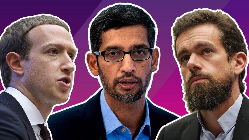 Mark Zuckerberg, Sundar Pinchai, Jack Dorsey