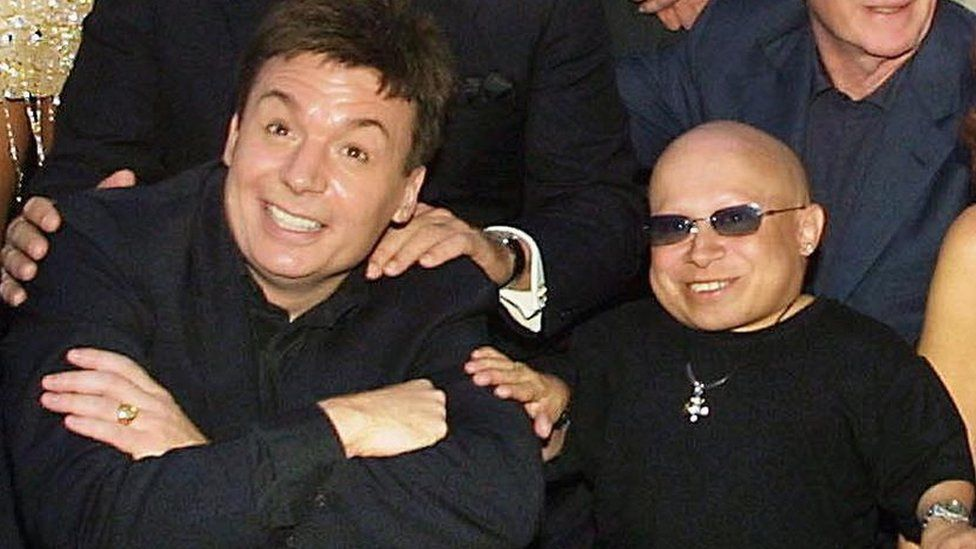 Mike Myers and Verne Troyer promoting the film Austin Powers in Goldmember in 2002