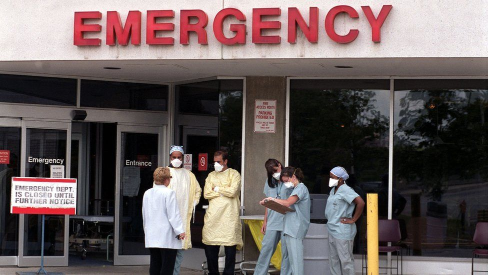 Hospital staff outside of Canadian hospital