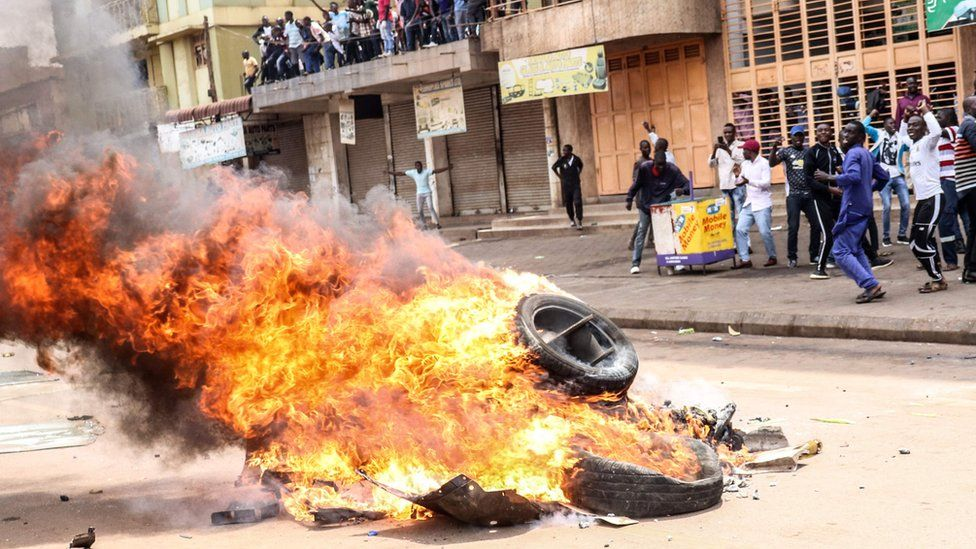 Tyres burning during a protest
