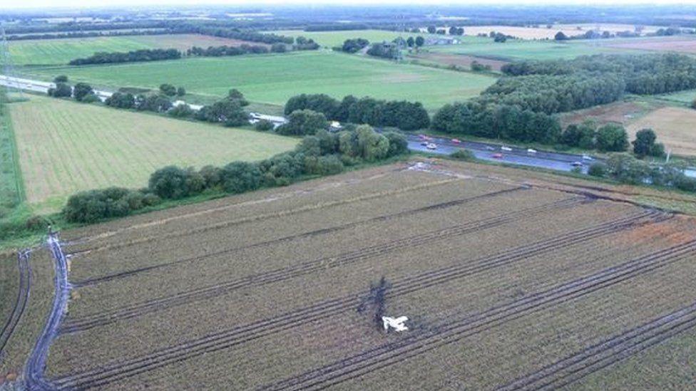 Crashed plane in potato field near M62