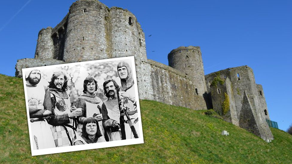 Monty Python cast and Kidwelly Castle