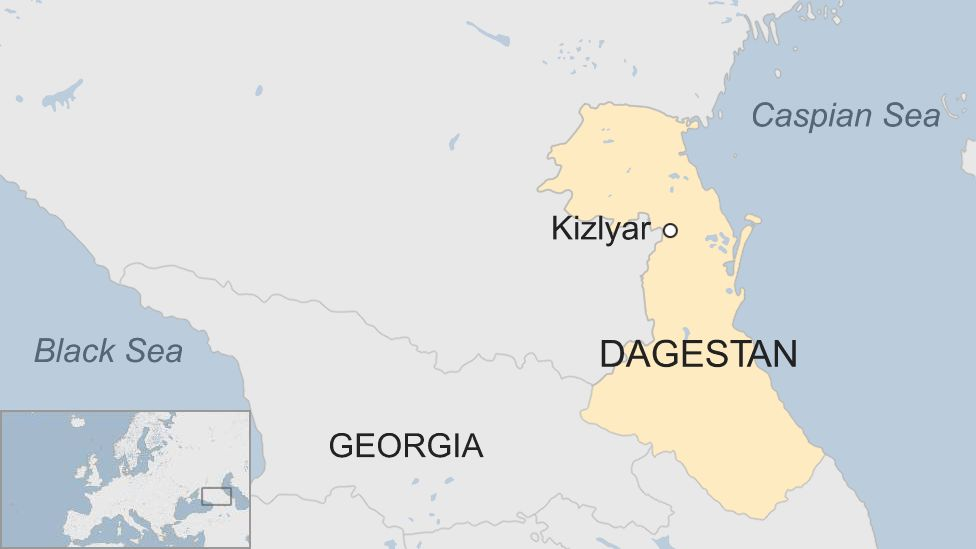 A map showing Kizlyar in Dagestan, Russia