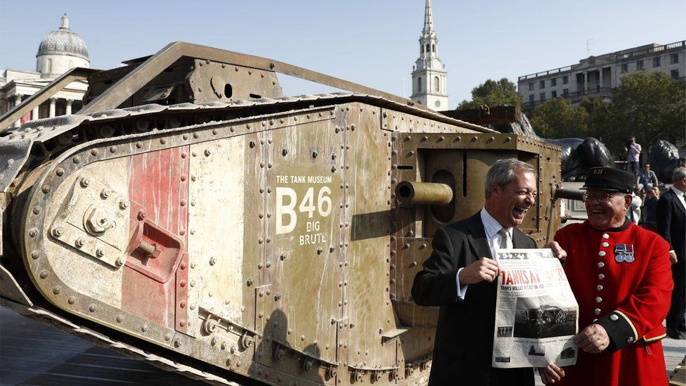 Nigel Farage got himself photographed with the tank in Trafalgar Square