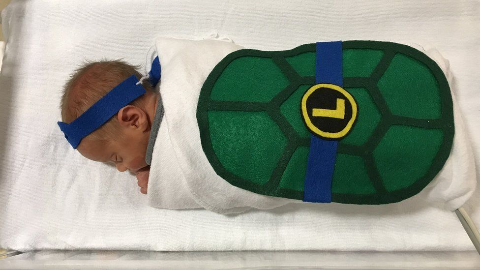 Baby Lucas was dressed as a ninja turtle for Halloween