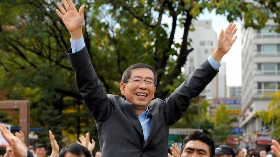 Mr Park at a rally before his first election 2011