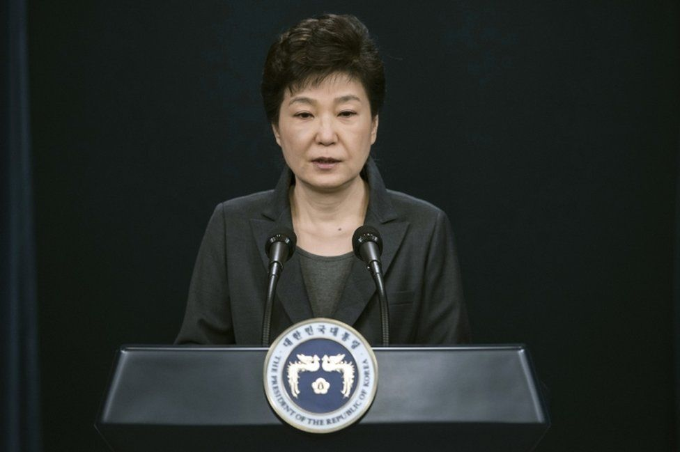 South Korean President Park Geun-hye speaks during an address to the nation, at the presidential Blue House in Seoul on 4 November, 2016.
