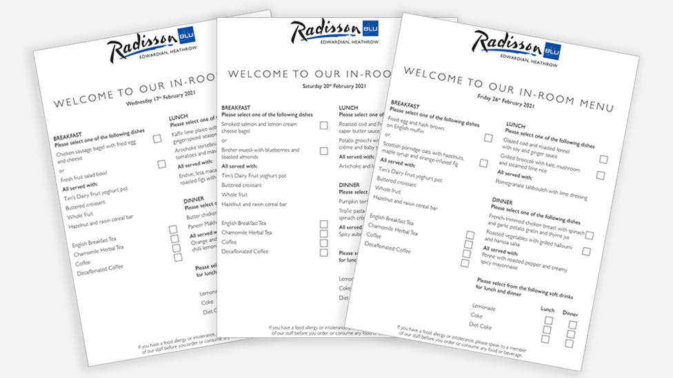 Menus from Radisson Blu Hotel