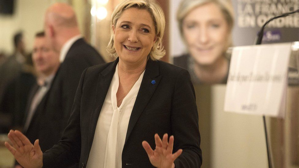 Leader of France's far-right Front National political party and candidate for the 2017 French presidential elections, Marine Le Pen, 2 March 2017