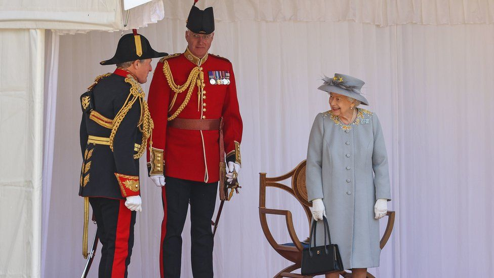 Queen Elizabeth II during a ceremony at Windsor Castle in Berkshire to mark her official birthday.