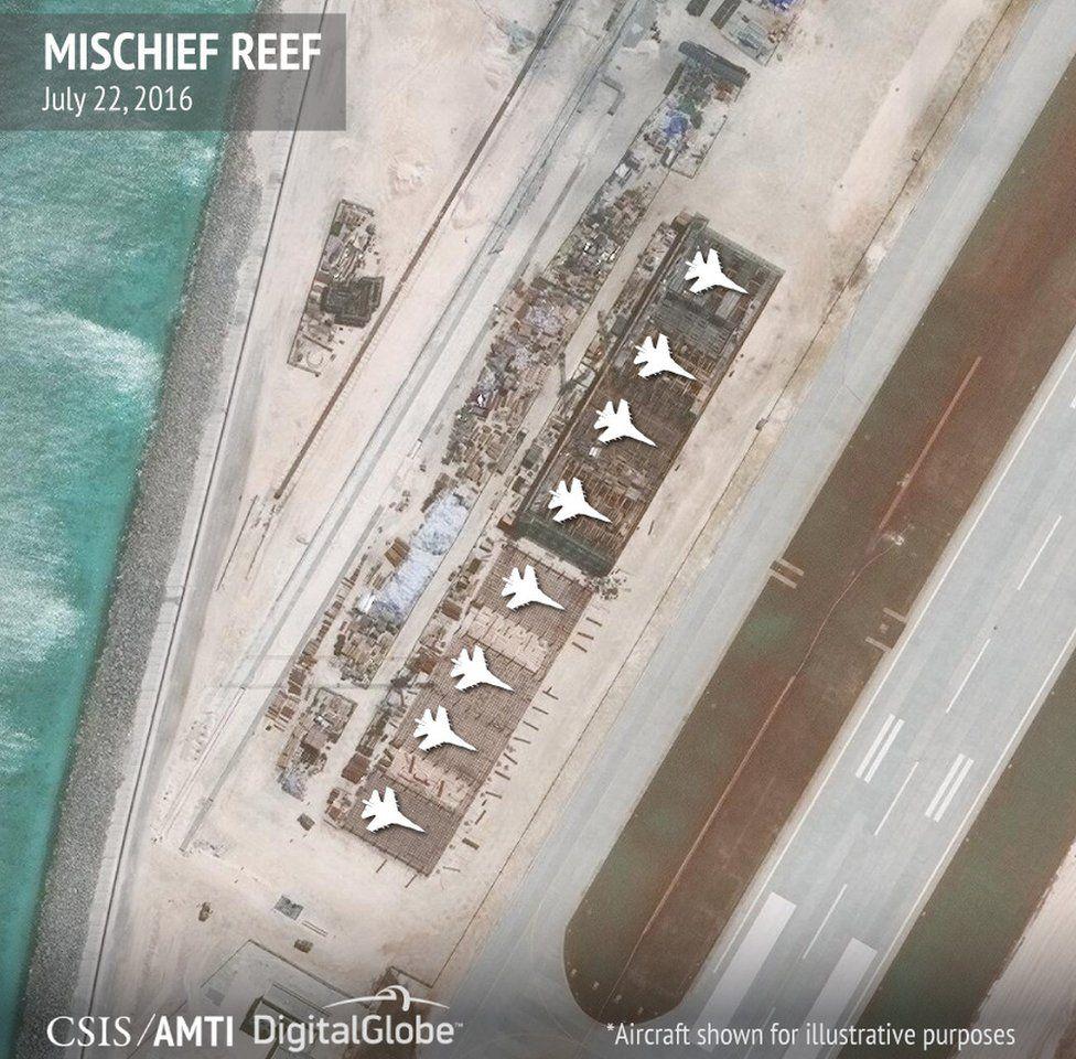 Hangars on Mischief Reef
