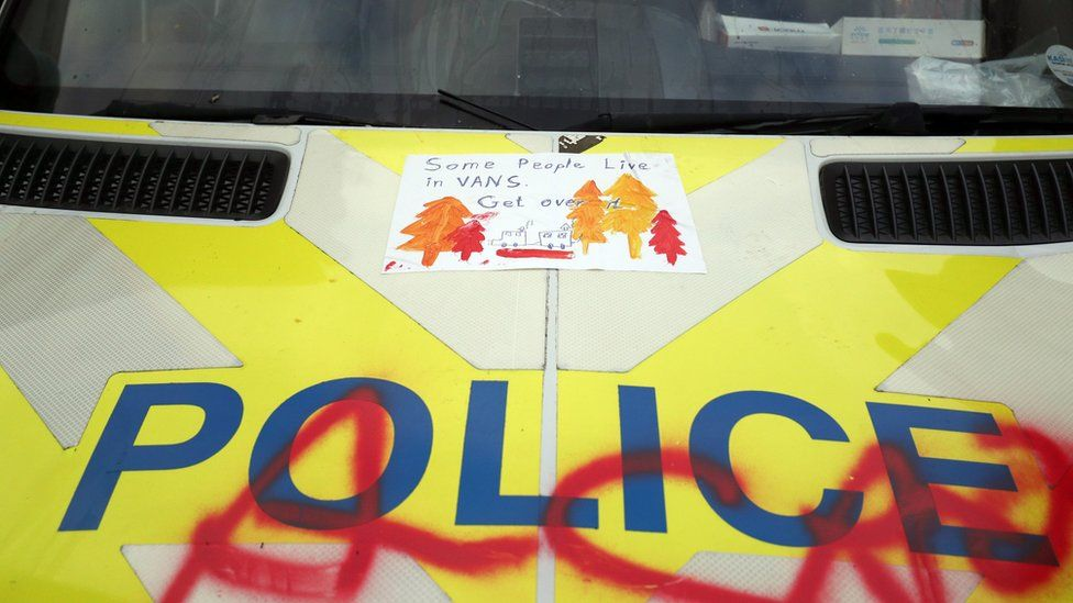 Graffiti on police van