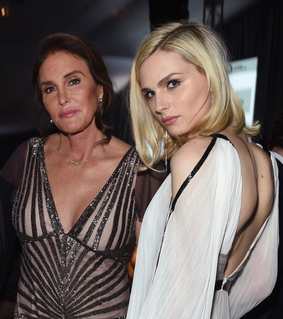 TV personality Caitlyn Jenner and model Andreja Pejic attend the 25th Annual Elton John AIDS Foundation's Academy Awards Viewing Party at The City of West Hollywood Park on February 26, 2017