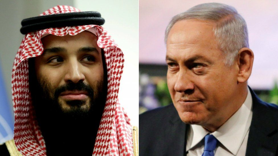 Collage photograph of Mohammed bin Salman and Benjamin Netanyahu