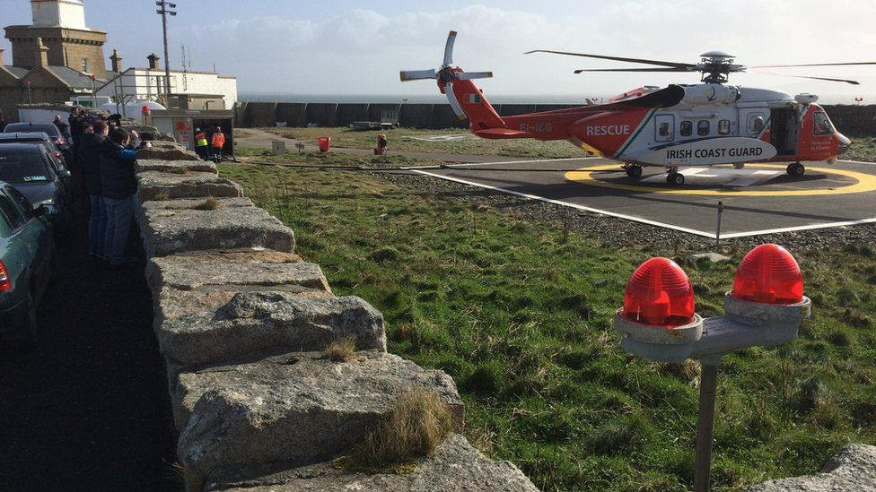 The helicopter pad at Blacksod lighthouse where the helicopters refuelled