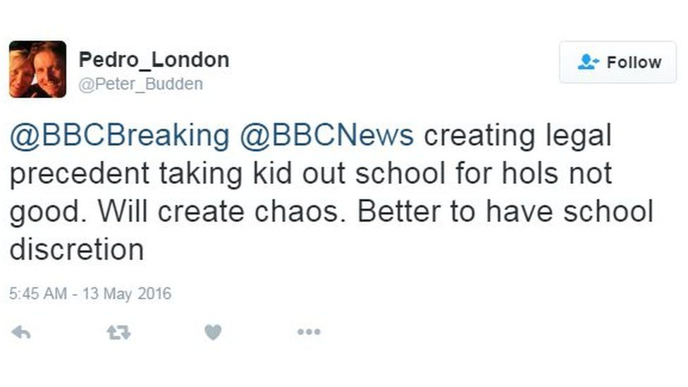 @BBCBreaking @BBCNews creating legal precedent taking kid out school for hols not good. Will create chaos. Better to have school discretion