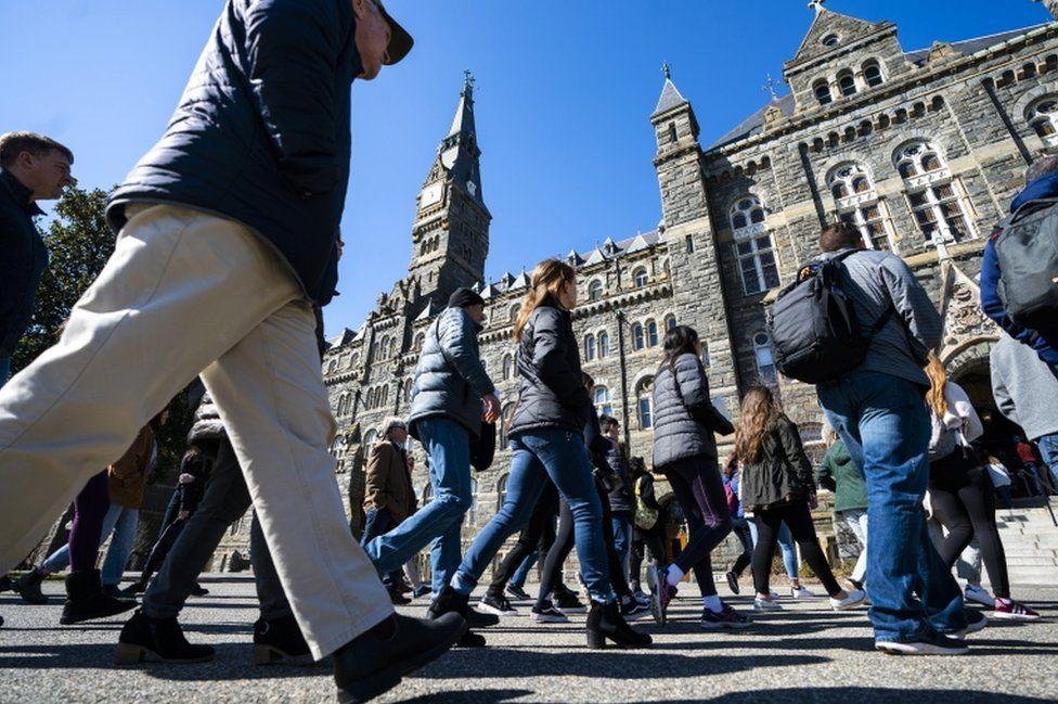 Prospective students tour Georgetown University in Washington DC
