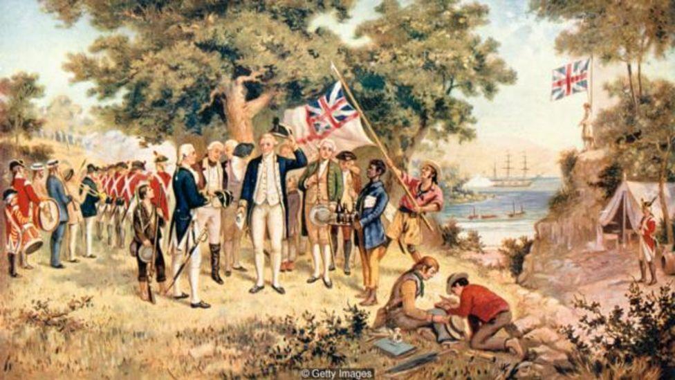 La llegada del capitán Cook a Australia