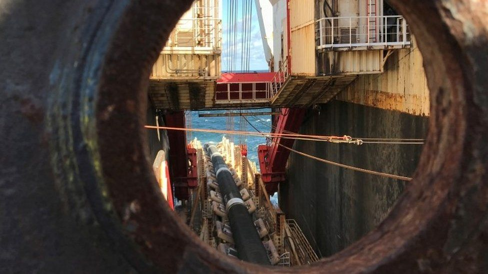 Pipes are laid for the Nord Stream 2 pipeline in the Baltic Sea, 13 September 2019