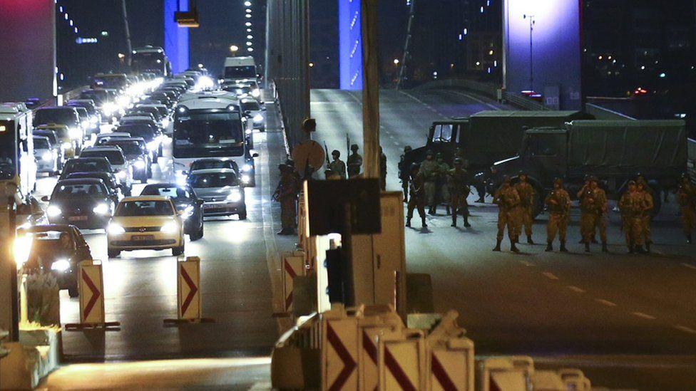Turkish military block access to the Bosphorus bridge, in Istanbul