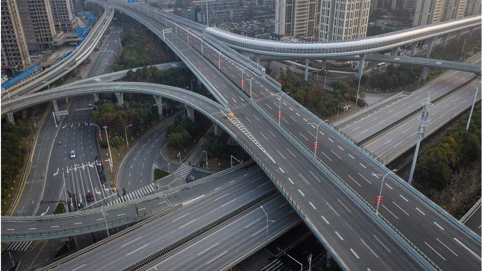 An aerial view of the roads and bridges in Wuhan city, China during the coronavirus lockdown