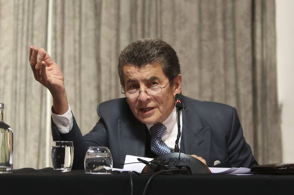Sir Geoffrey Nice QC sitting on The Independent Tribunal Into Forced Organ Harvesting of Prisoners of Conscience in China, known as the China Tribunal, June 2019.